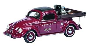 Schuco 450889400 - Volkwagen Escarabajo Beutler Porsche Servicio, Escala 1:43, los Coches y Modelo de tráfico, Rojo Planas