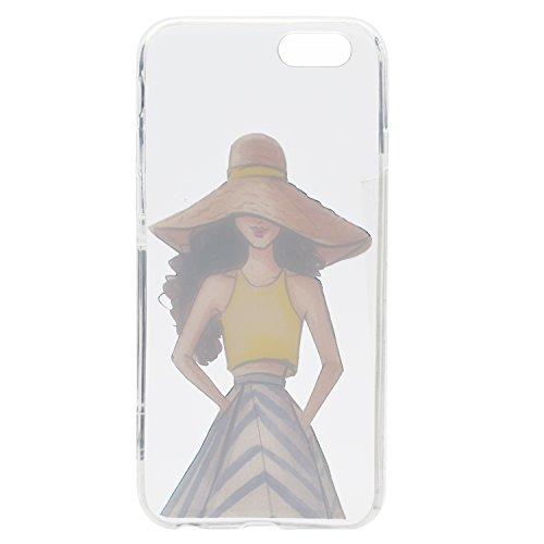 Apple iPhone 6 4.7 Hülle, Voguecase Silikon Schutzhülle / Case / Cover / Hülle / TPU Gel Skin für Apple iPhone 6/6S 4.7(Schwarzes Kleid Mädchen 01) + Gratis Universal Eingabestift Hut Mädchen