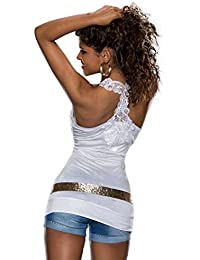 3828 Fashion4Young débardeur pour femme top t-shirt dentelle au crochet, dentelle disponible en 9 couleurs