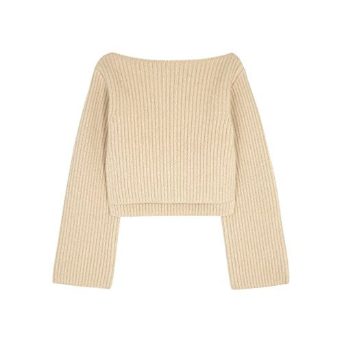 WanYang Femme Pull Casual Manches Longues Pullover Irrégulier Sweater Hauts en Tricot Automne Casual Vrac Lâche Chemise Abricot