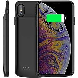 """iPhone XS Max Coque Batterie, 6000mAh Rechargeable Externe Chargeur de Batterie Power Bank Coques d'alimentation Ultra Fin Backup Housse de Secours Coque de protection pour iPhone XS Max 6.5"""" Noir"""