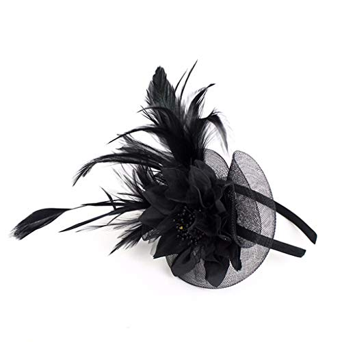 MIRRAY Feder Fascinators Womens Flower Derby Hut Für Cocktail Ball Hochzeit Rockabilly 1920er Stirnband Haarband Schwarz