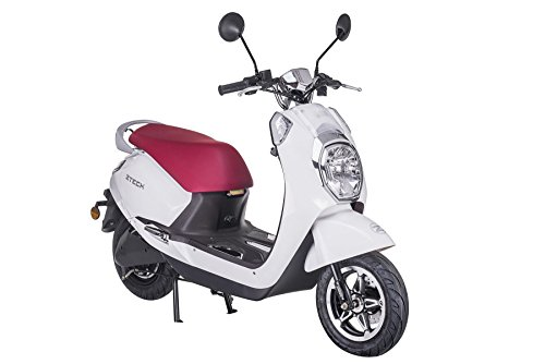 Z-TECH Scooter electrico E-Scooter Scooter Eléctrica 60V 50km/h 20AH Adulto Retro Vehículo Diamond Blanco
