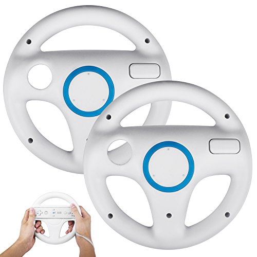 2 Stücke Wii Mario Lenkräder Wheel Controller,TechKen Wii Mario Kart Lenkrad Racing Wheel Wii Mariokart Spiel für Wii U Racing Spiele,Weiß
