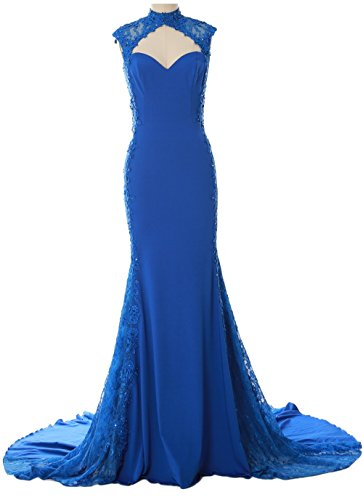 MACloth Women Mermaid High Neck Long Prom Dress Lace Jersey Formal Evening Gown Dunkelmarine