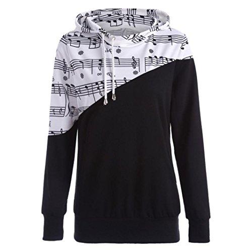 m Musical Note Patchwork Print Kapuzen Bluse Sweatshirt Tops (100 Gruppe Halloween Kostüme)