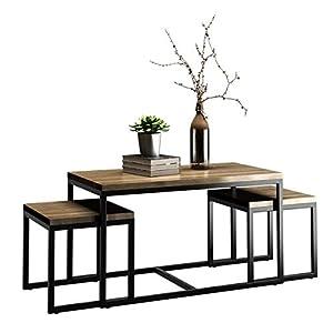 COSTWAY Beistelltisch 3er Set, Couchtisch Quadratisch, Satztisch Sofatisch Kaffeetisch Wohnzimmertisch Seitentisch…