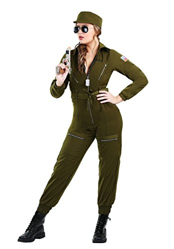 Plus Size Women's Army Flightsuit Fancy dress costume (Size Gun Plus Kostüm Top)