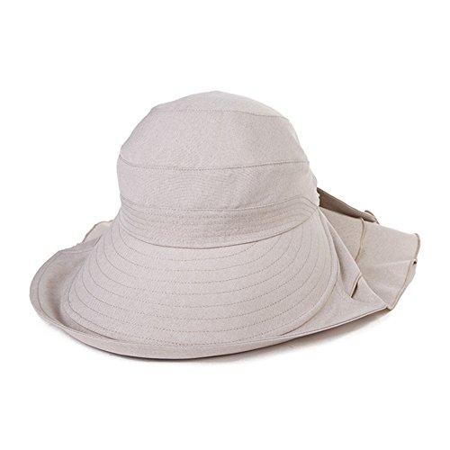 SIGGI Baumwolle beiger Sommerhut Baumwolle UPF 50 + Sun Shade Hut mit Nackenschnur für Damen