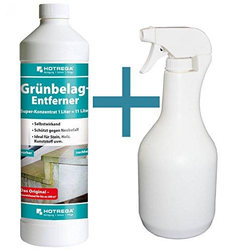 HOTREGA Grünbelag-Entferner - Super-Konzentrat 1 Liter + Sprühflasche 1 Liter