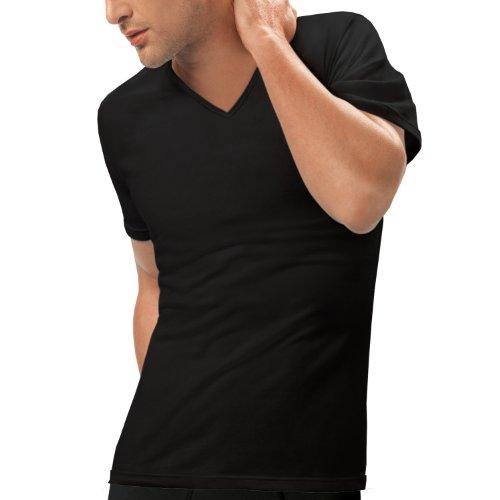 Nur Der Herren Unterhemd 887651/T-Shirt 3D-Flex V-Ausschnitt, Einfarbig, Gr. Large (Herstellergröße: 6 L), schwarz