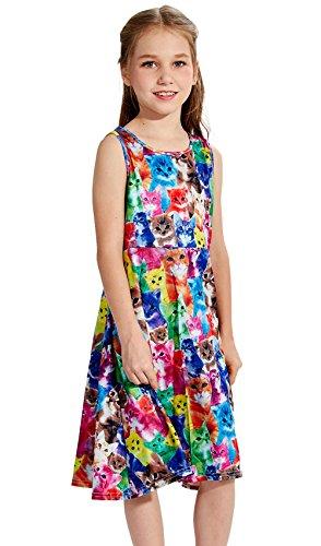 Chicolife kinder mädchen kleider tank kleider sommer floral ärmellose kleid (Einfach Kleid Mädchen)