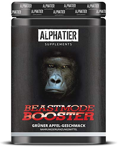 Hardcore Extrem Fett (ALPHATIER BEASTMODE BOOSTER XXL - Pre-Workout Shake hochdosiert - Koffein, Citrullin, L-Arginin, Kreatin, ß-Alanin - Fokus + Pump beim Training - 500g grüner Apfel-Geschmack)
