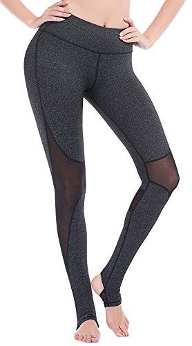 DeepTwist Mesh Yoga Hosen Leggings für Damen - Workout Running Strumpfhosen Lang Activewear Fitness Running Pilates Gamaschen, UK-DT4007-Dark Grey-12