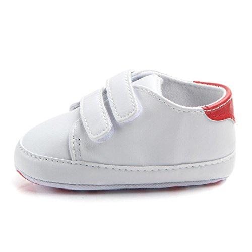 Elecenty calzature con velcro scarpe da bambino con fondo morbido(3-12mese) (size:13, rosso)