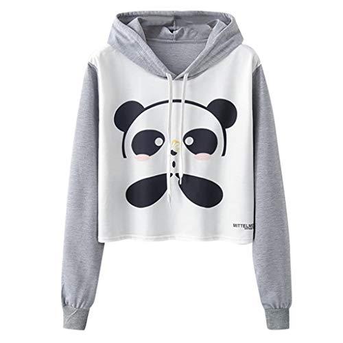 Yesmile Sweatshirts Herbst Frauen Lose Niedlich Panda Kapuzenpulli Damen Warm Kurz Bauchfrei Langarmshirts Bluse Mode Pullover Tops