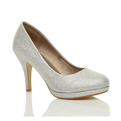 Femmes talons hauts moyen soirée élégant simple escarpins chaussures pointure Paillettes argent tulle