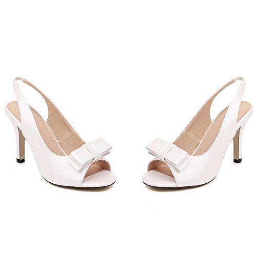 TAOFFEN Damen Mode-Event Schuhe Peep-toe Schlupfschuhe Open Back High Heel Bogen Sandalen Weiß