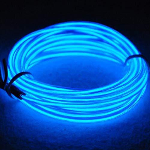 3M EL Wire Neon licht Batteriebetriebene Wire Pack Treiber mit 3 Modi Multi Farben EL Wire Hohe Helligkeit Elektrolumineszenz für Weihnachtsparty Indoor Ourdoor Dekoration Hochzeit Pub(Blau) - Multi-licht