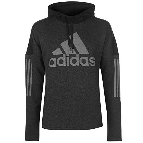 Logo Fleece Pullover (adidas Herren Sports ID Logo Po Fleece Kapuzen-Sweatshirt, Melange/Black, 2XL)