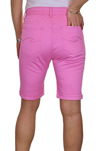 ICE (1515) Short en Jeans Type Chino Extensible et Brillant Grande Taille Rose
