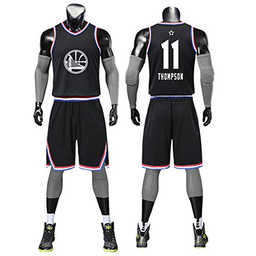 T-shirt NBA 2019 All-Star-Basketballanzug Jugend Uniform Stoff Stickerei Anzahl Jersey Sport Pullover Black-1#11-M - All-star-jersey