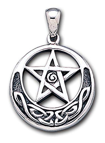 Alterras - Anhänger: Pentagramm mit Mondsichel aus 925-Silber