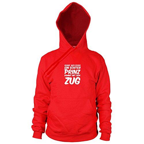 Ein echter Prinz kommt mit dem Zug - Herren Hooded Sweater, Größe: S, Farbe: rot (Pferd Zug Kostüm)