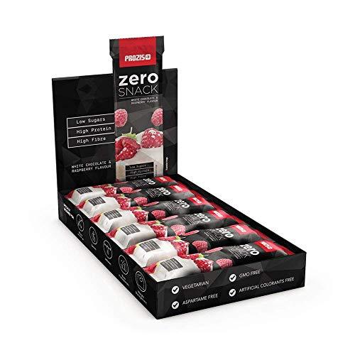 Prozis Zero Snack Barra Rico En Proteína y Bajo en Hidratos de Carbono y Azúcares, Chocolate Blanco con Frambuesas  - 12 x 35 g