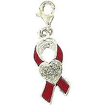 The OLIVIA Collection de plata de ley lazo rosa contra el cáncer lazo rosa para pulsera de cristal de corazón