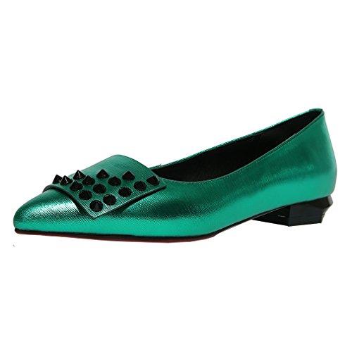 ENMAYER Femmes Ceinture Cheville Sandales Talons Hauts Sandales Pointe Pointue Rencontres Boucles Rivets Chaussures en Métal Vert#8