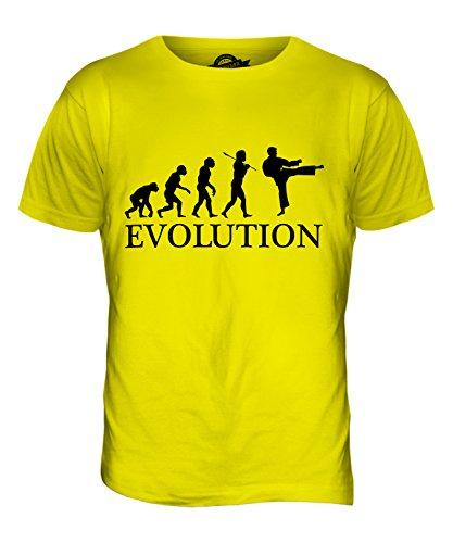 CandyMix Karate Evoluzione Umana T-Shirt da Uomo Maglietta Giallo Limone