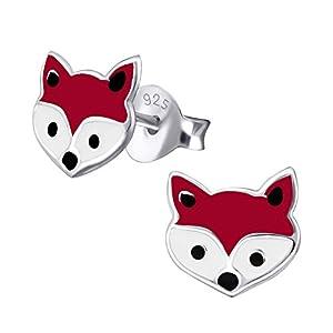 Laimons Mädchen Kids Kinder-Ohrstecker Ohrringe Kinderschmuck Fuchs Kopf Füchschen Rotfuchs Tier Waldbewohner 8mm braun weiß aus Sterling Silber 925