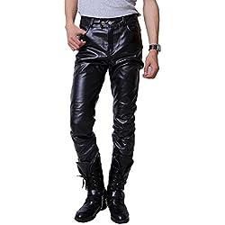 Hombres Otoño Invierno Pantalón De Cuero Pu Básico Casual Pantalones Largos De Correr Para Cálido De Contaviento Pantalon Negro XL