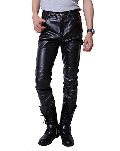 Runyue Hombres Otoño Invierno Pantalón De Cuero PU Básico Casual Pantalones Largos De Correr para Cálido De Contaviento Pantalon Negro XL