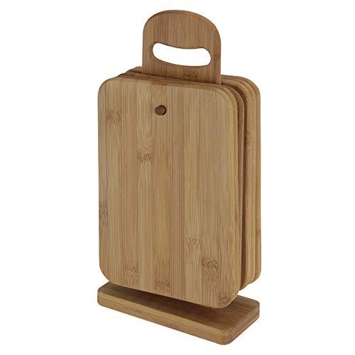 Oramics Schneidebrett Set - 7 teilig - 6 Brettchen aus Bambus inklusive Brettchenständer - Frühstücksbrettchen, stabile Schneidebretter mit Ständer für die Küche und den Esstisch