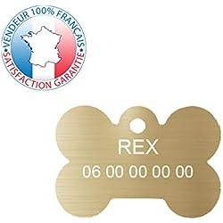 GRAVURE CONCEPT Médaille pour Chien | Médaille gravée Personnalisable | 1 à 3 Lignes (Or, Os)