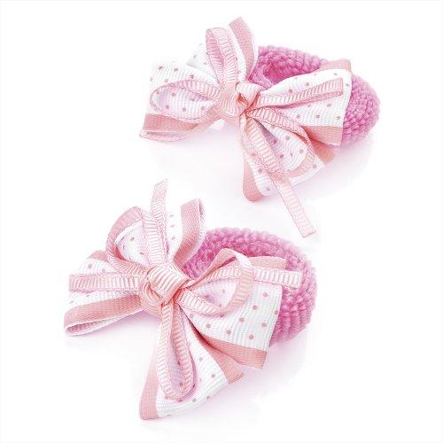 2 x 5.5cm Pink & White Polka Dot Design Bow Hair Ponio Elastics Bobbles Back to School