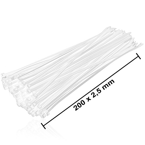 Preisvergleich Produktbild 1000 Stück HSM Kabelbinder Weiß 200 x 2, 5 mm Kabelband Kabelstraps Kabelrapp Kabelbaumbündelband Rapp-Band Ratschband