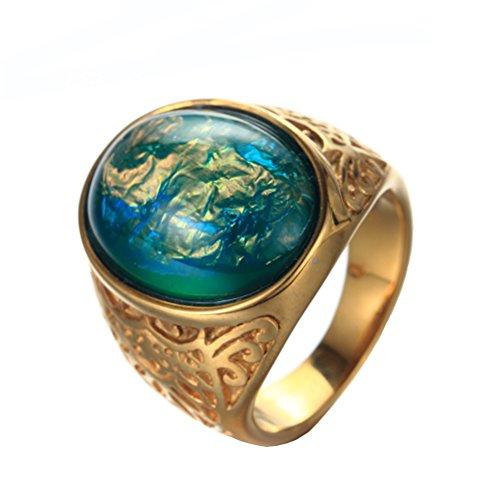 HIJONES Uomo Acciaio Inossidabile Oro Placcato Ovale Gemma Verde Opale Anello, Stile Vintage Taglia 14
