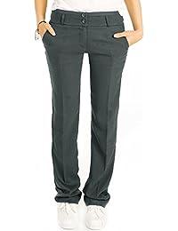 Bestyledberlin Elegante Damen Hose, Schicke Relaxed Fit Stoffhose, Feine Bügelfalten Hosen j12k