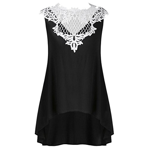 r Ärmellos Bluse Mode Frauen Bandagen Sleeveless Weste Spitze Schmetterling Strappy Print Tank Tops T Shirt Oberteile(X-e-schwarz,L) ()