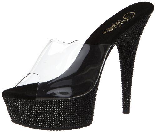Pleaser, Sandali donna Multicolore (Clear/Black)