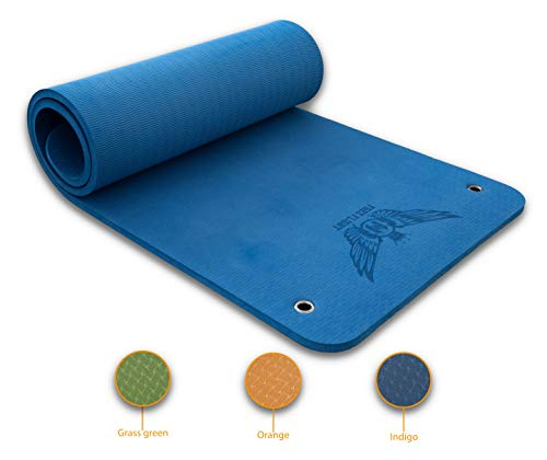 Free Flight Yogamatte Fitnessmatte Gymnastikmatte Pilatesmatte Sportmatte Rutschfest Luxusmatte mit Ösen Zum Aufhängen Extra Dick 1,5 cm (Indigo)