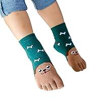 جوارب - جوارب للأطفال الصغار والبنات والأولاد كرتون حيوانات خمسة أصابع جوارب جوارب (G M)