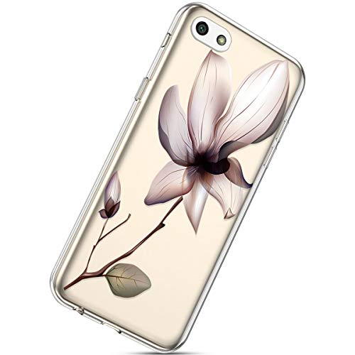 Herbests Kompatibel mit Huawei Y5 2018 Handyhülle TPU Silikon Dünn Schutzhülle Muster Transparent Durchsichtige Crystal Clear Case Cover Anti-Kratzer Hülle Softcase Tasche,Rosa Blumen Transparente Clear Case