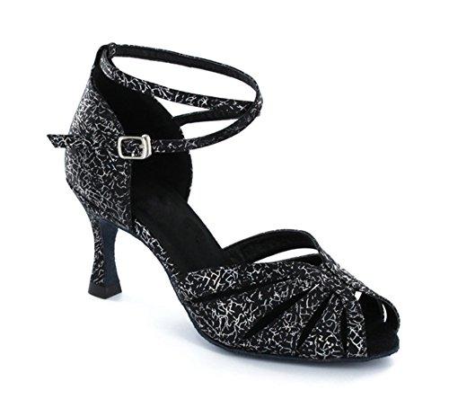 Senhoras Dançando Minitoo Preto Floral Sapatos dACRw6qC