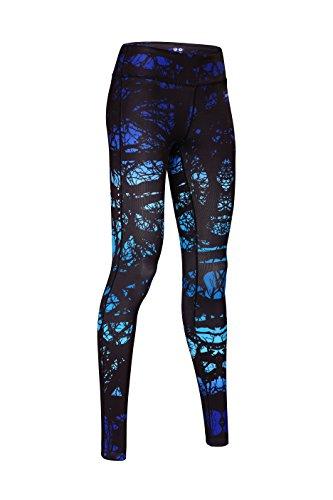 SIKAINI Yoga Pants Damen Leggings Print Sport Yoga Hosen Blau PL1511-02