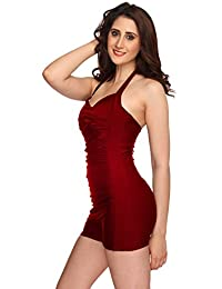 Nidhi Munim Women's Wine Halter Neck Cross Rouching Swimsuit