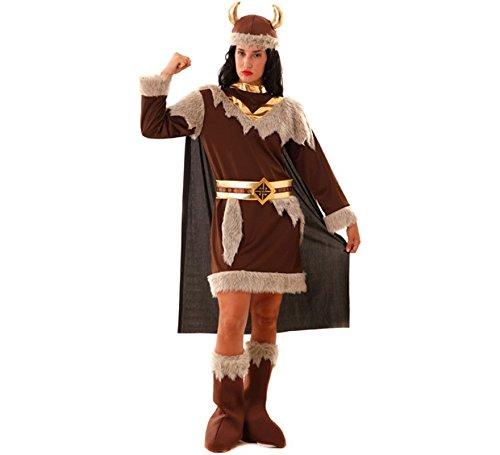 Kostüm Wikinger Frau Odeta S- XXL Kleid braun Fasching Seeräuberin (XL)